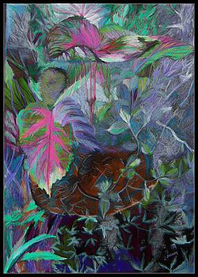 Lavender Drawing - The Tropical Basket by Mindy Newman