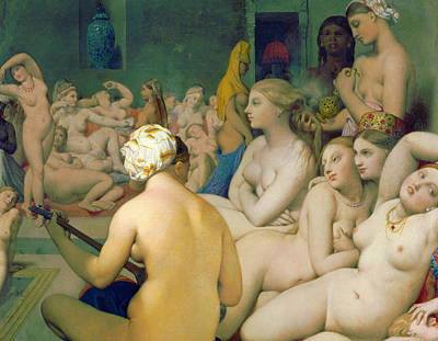 Lady Painting - The Turkish Bath, Detail by Jean-Auguste-Dominique Ingres