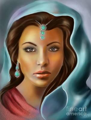 Digital Pastel Painting - The Turquoise Rania... by Gabriela Tasiro