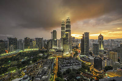 Twin Towers Photograph - The Twin Towers by Mohd Rizal Omar Baki