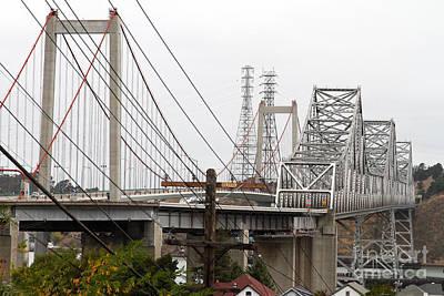 Bayarea Photograph - The Two Carquinez Bridges At Crockett And Vallejo California . Aka Alfred Zampa Memorial Bridge . 7d8919 by Wingsdomain Art and Photography