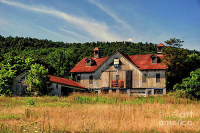 Red Roof Photograph - The Two Cupola Barn by Lois Bryan