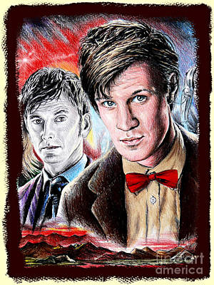 Doctor Who Drawing - The Two Doctors by Andrew Read
