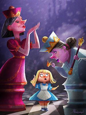 Arts In Wonderland Digital Art - The Two Queens, Nursery Art by Kristina Vardazaryan
