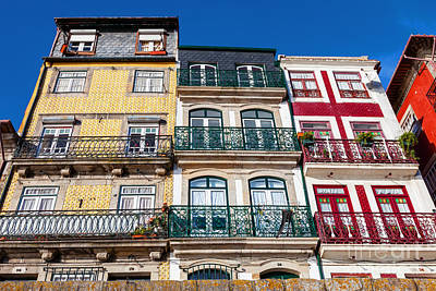 Flower Photograph - The Typical Colorful Buildings Of The Ribeira District In Porto by Jose Elias - Sofia Pereira