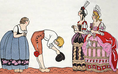 Ecole Painting - The Ugly Sisters From Cinderella by Georges Barbier