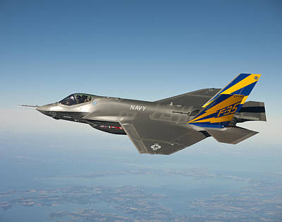 U.s. Navy Painting - The U.s. Navy Variant Of The F-35 Joint Strike Fighter, The F-35c by Celestial Images