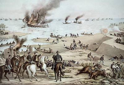 Us Navy Drawing - The Uss Monitor Fighting The Css Merrimack At The Battle Of Hampton Broads by American School