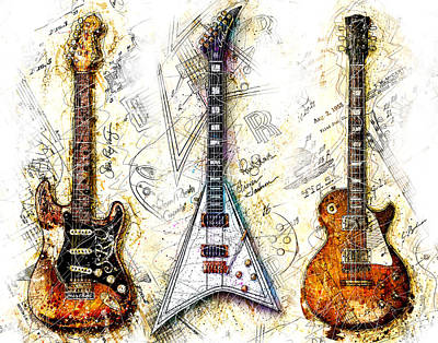 Guitar Digital Art - The Usual Suspects by Gary Bodnar