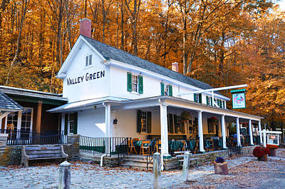 Leaves Photograph - The Valley Green Inn In Autumn by Bill Cannon