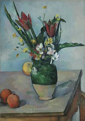 Wooden Table Painting - The Vase Of Tulips by Paul Cezanne