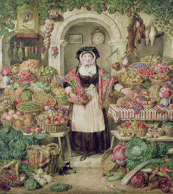Cauliflower Painting - The Vegetable Stall  by Thomas Frank Heaphy