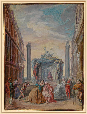 Drawing - The Venetian Festivals by Gabriel de Saint-Aubin