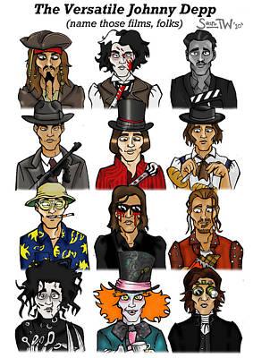 Johnny Depp Digital Art - The Versatile Johnny Depp by Sean Williamson
