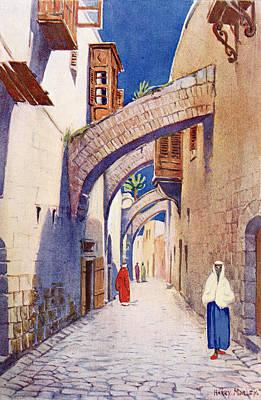 Bible Drawing - The Via Dolorosa, Jerusalem, Palestine by Vintage Design Pics