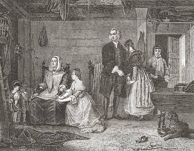 Newton Drawing - The Vicar Of Wakefield Reconciling His by Vintage Design Pics