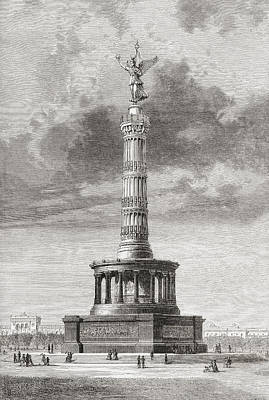 Berlin Drawing - The Victory Column In The Tiergarten by Vintage Design Pics