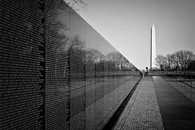 Black And White Photograph - The Vietnam Veterans Memorial Washington Dc by Ilker Goksen