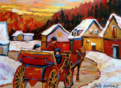 Montreal Winter Scenes Painting - The Village Of Saint Jerome by Carole Spandau