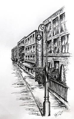 Greenwich Village Drawing - The Village by Rob Dumont
