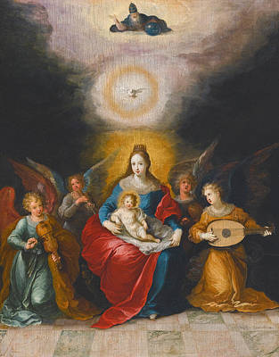 Frans Francken The Younger Painting - The Virgin And Child Surrounded By Music-making Angels The Holy Spirit And God The Father Above by Frans Francken the Younger