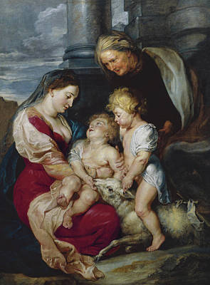 The Virgin And Child With Saint Elizabeth And Saint John Print by Peter Paul Rubens