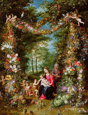 The Virgin And Child With The Infant Saint John The Baptist, Saint Anne And Angels, Surrounded By A  Print by Brueghel and Balen