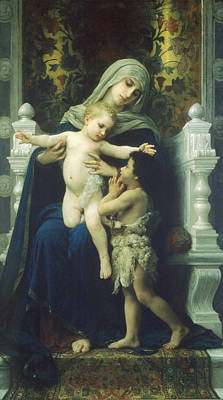 The Virgin Baby Jesus And Saint John The Baptist Print by William Bouguereau