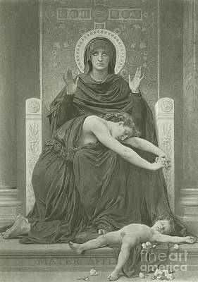 New Baby Art Drawing - The Virgin Comforter by William-Adolphe Bouguereau