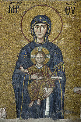 The Virgin Mary Holds The Child Christ On Her Lap Print by Ayhan Altun