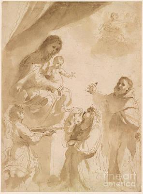 Giovanni Francesco Barbieri Painting - The Virgin Of The Rosary by Giovanni Francesco