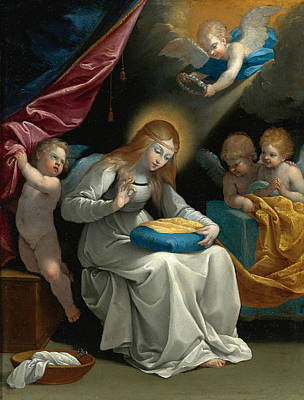 Guido Reni Painting - The Virgin Sewing Accompanied By Four Angels. La Couseuse by Guido Reni