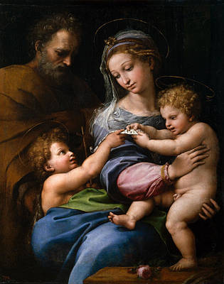 Baby Painting - The Virgin With A Rose by Raffaello Sanzio