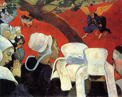 Biblical Scene Painting - The Vision After The Sermon - Jacob Wrestling With The Angel by Paul Gauguin