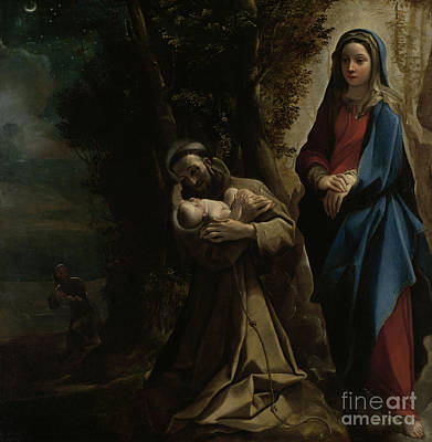 The Vision Of Saint Francis Of Assisi Print by Lodovico Carracci