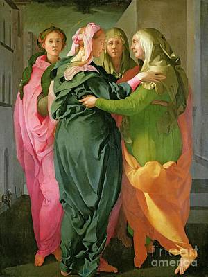 Mother Of God Painting - The Visitation by Jacopo Pontormo