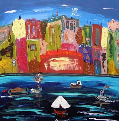 Outsider Art Painting - The Vista Of The City by Mary Carol Williams