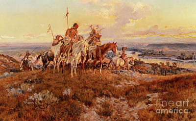 Badlands Painting - The Wagons by Charles Marion Russell