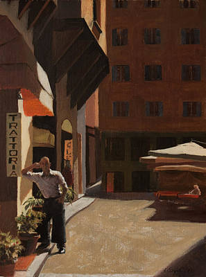 Store Fronts Painting - The Waiter by Katherine Seger