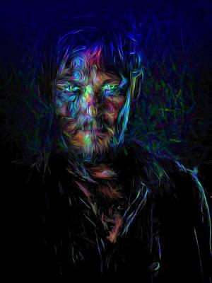 The Walking Dead Daryl Dixon Painted Print by David Haskett