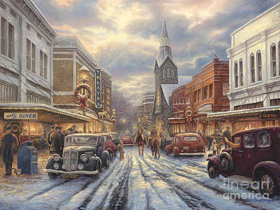 Small Painting - The Warmth Of Small Town Living by Chuck Pinson