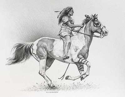 Horse Crazy Drawing - The Warrior by Heidi Osgood-Metcalf