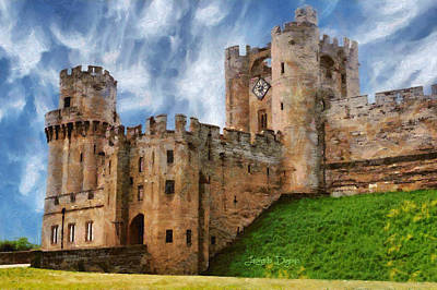 House Digital Art - The Warwick Castle - Da by Leonardo Digenio