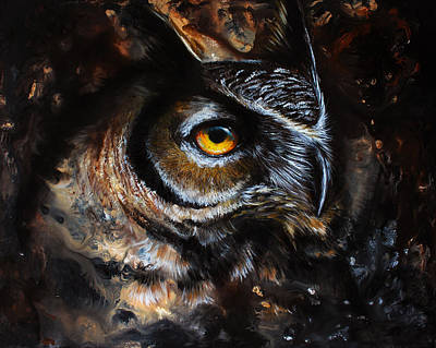 Owl Mixed Media - The Watchful Heart by Danielle Trudeau