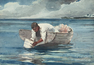 Person Drawing - The Water Fan by Winslow Homer