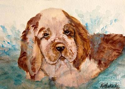Cocker Spaniel Painting - The Water Is Fine by Ruth Luke