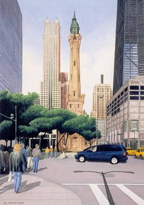 Hancock Building Painting - The Water Tower Chicago by James Pinto