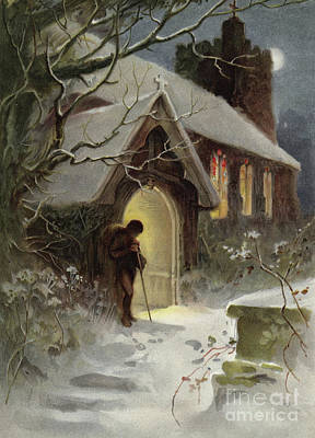 Snowy Night Painting - The Way Home by English School