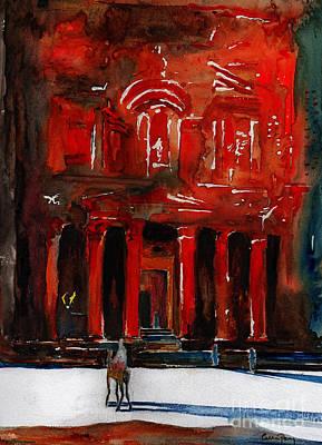 Jordan Painting - The Way To Al Khazneh by Callan Percy