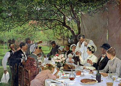 Eating Painting - The Wedding Meal At Yport, 1886 by Albert-Auguste Fourie